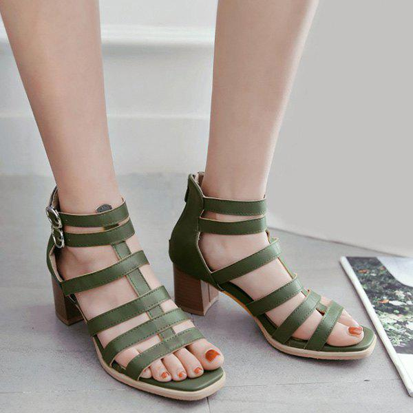 841cffc3ae3 Fashion Chunky Heel Square Toe Gladiator Strappy Sandals