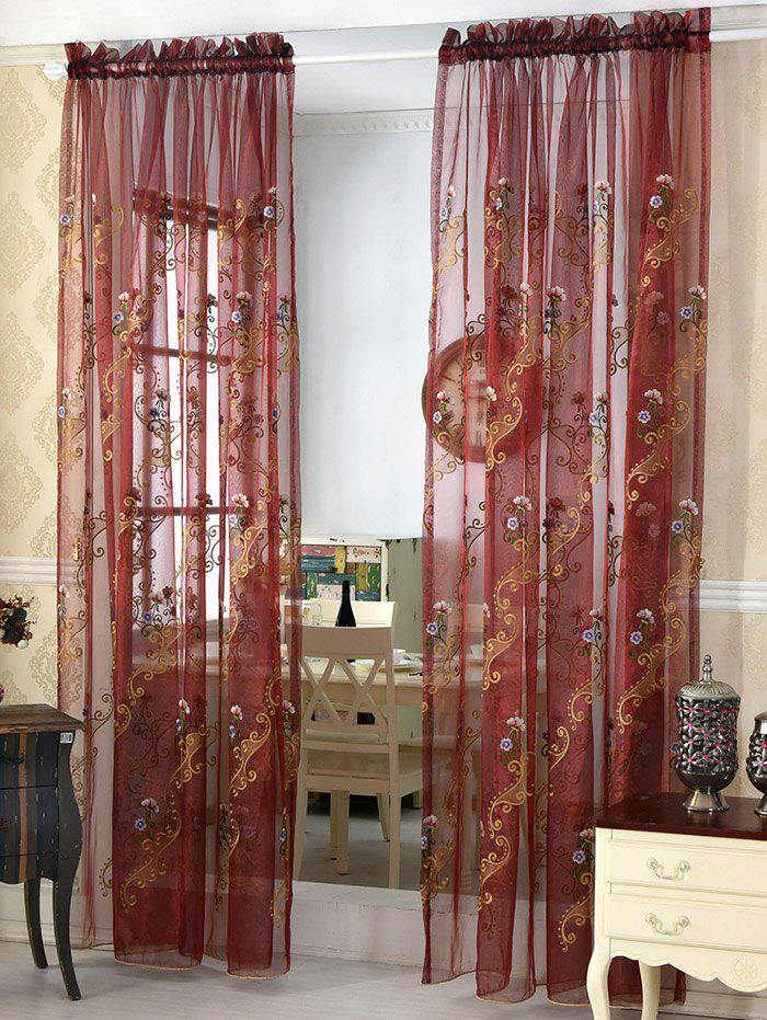 Unique Flower Embroider Voile Sheer Window Curtain