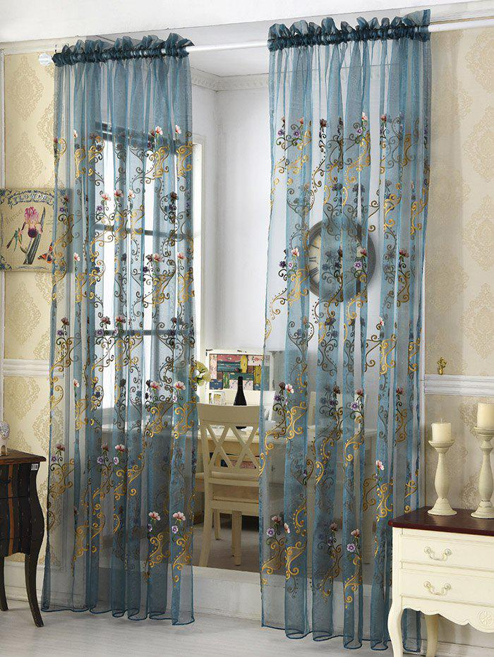 Flower Embroider Voile Sheer Window CurtainHOME<br><br>Size: 100*250CM; Color: ICE BLUE; Applicable Window Type: French Window; Function: Translucidus (Shading Rate 1%-40%); Installation Type: Ceiling Installation; Location: Window; Material: Cloth Curtain + Voile Curtain; Opening and Closing Method: Left and Right Biparting Open; Pattern Type: Floral; Processing Accessories Cost: Excluded; Style: European and American Style; Type: Curtain; Use: Cafe,Home,Hotel,Office; Weight: 0.2400kg; Package Contents: 1 x Window Curtain;