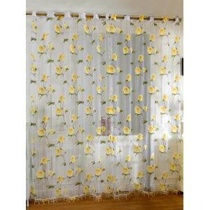 Sami Sheer Floral Print Window Curtain - Yellow - 100*250cm