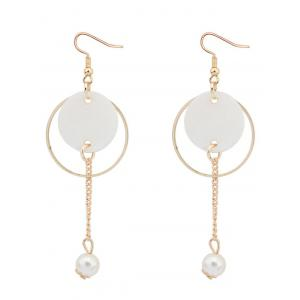 Faux Pearl Stone Drop Earrings - Golden