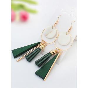 Tassel Circle Bar Drop Earrings - GREEN
