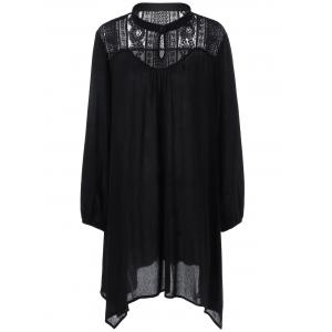 Plus Size Lace Trim Longline Smock Blouse