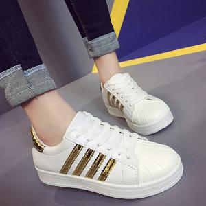 Shell Toe PU Leather Athletic Shoes - Golden - 38