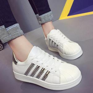 Shell Toe PU Leather Athletic Shoes - Silver - 38