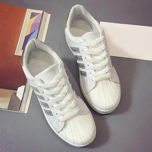 Shell Toe PU Leather Athletic Shoes - SILVER 38