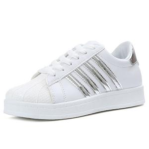 Shell Toe PU Leather Athletic Shoes - SILVER 39
