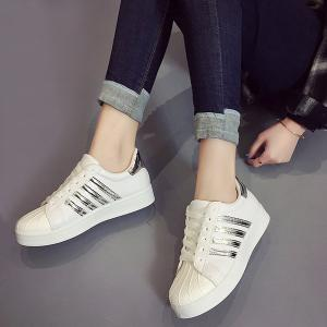 Shell Toe PU Leather Athletic Shoes - SILVER 40