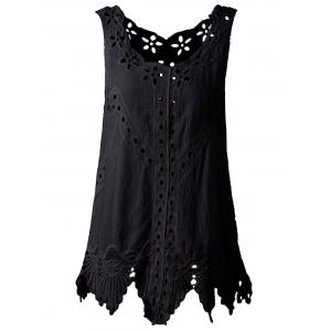 Bohemian Scoop Neck Crochet Sleeveless Solid Color Blouse For Women - Black - One Size