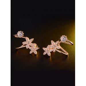Rhinestone Flower Ear Cuffs
