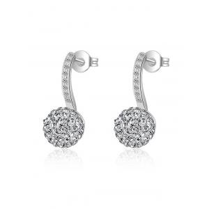 Rhinestoned Ball Drop Earrings - Silver