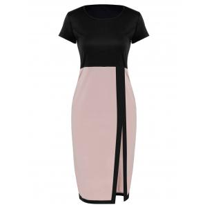 Two Tone Pencil Sheath Work Dress