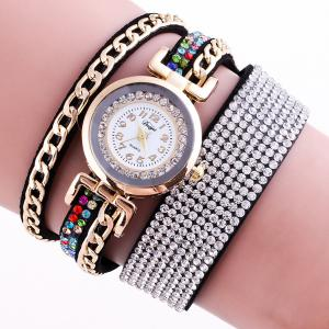 Chain Rhinestoned Strap Wrap Bracelet Watch - Black