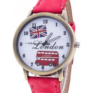 London Cartoon Bus Jean Strap Watch -
