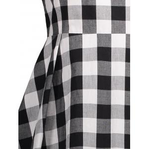 V Neck Plaid Robe sans manches Vintage -