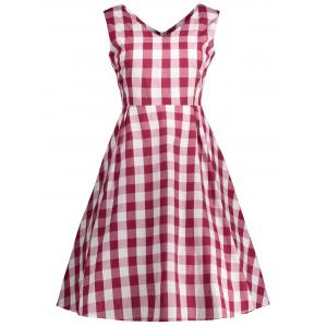 V Neck Plaid Sleeveless Vintage Dress