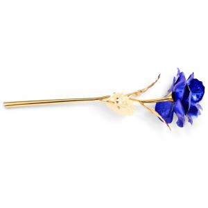 1PCS Gold Plated Rose Flower Birthday Gift - BLUE