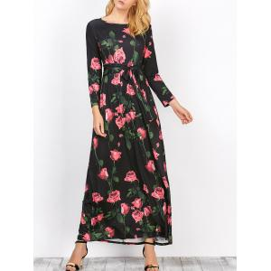 Floral Long Sleeve Maxi Prom Dress