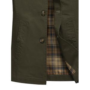 Button Up Notch Lapel Collar Jacket - ARMY GREEN M