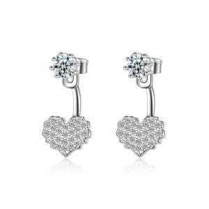 Rhinestone Heart Ear Jackets - Silver