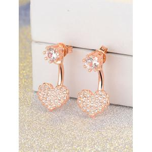 Rhinestone Heart Ear Jackets - Golden