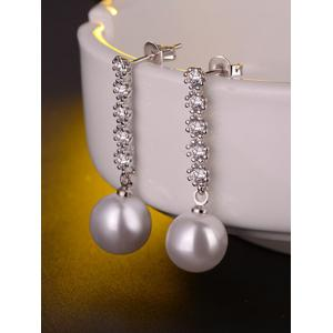 Faux Pearl Rhinestone Drop Earrings -