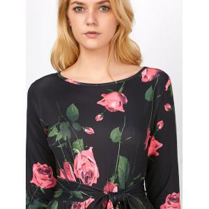 Floral Long Sleeve Maxi Prom Dress - BLACK S