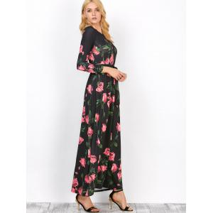 Floral Long Sleeve Maxi Prom Dress -