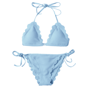Scalloped String Bikini Swimwear - LIGHT BLUE S