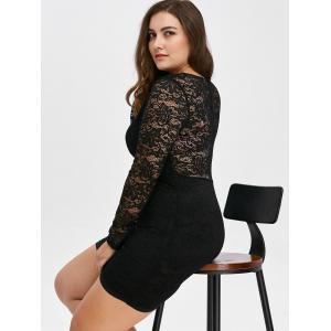 Low Cut Lace Short Bodycon Scalloped Dress with Long Sleeves -