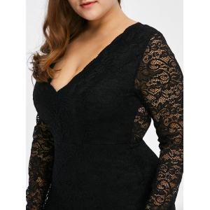 Low Cut Lace Short Bodycon Scalloped Dress with Long Sleeves - BLACK 5XL
