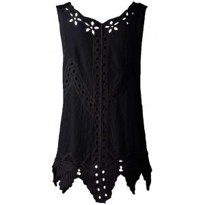Bohemian Scoop Neck Crochet Sleeveless Solid Color Blouse For Women - BLACK ONE SIZE