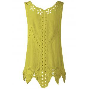 Bohemian Scoop Neck Crochet Sleeveless Solid Color Blouse For Women - YELLOW ONE SIZE