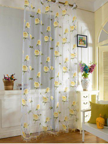 Discount Sami Sheer Floral Print Window Curtain - 100*250CM YELLOW Mobile