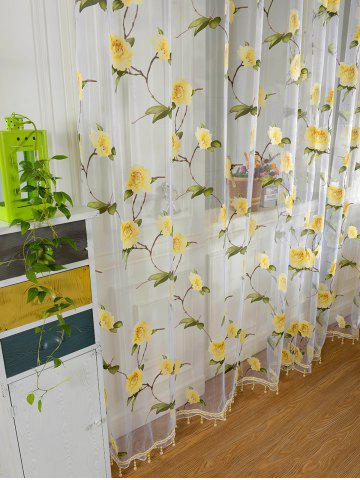 Fancy Sami Sheer Floral Print Window Curtain - 100*250CM YELLOW Mobile