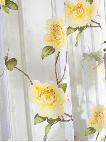 Outfits Sami Sheer Floral Print Window Curtain - 100*250CM YELLOW Mobile