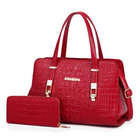 Crocodile Embossed Handbag with Wallet - Deep Red