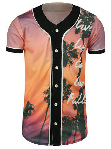 Outfit Palm Tree Tropical Print Baseball Jersey - 3XL COLORMIX Mobile