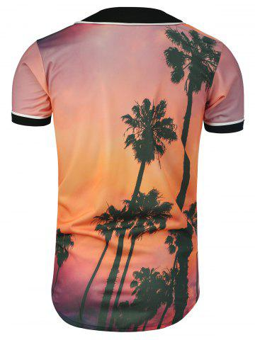 Chic Palm Tree Tropical Print Baseball Jersey - 3XL COLORMIX Mobile