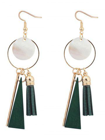 Latest Tassel Circle Bar Drop Earrings GREEN