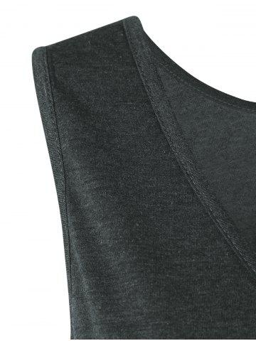 Outfits Layered Longline T-Shirt with Button - XL BLACK AND GREY Mobile