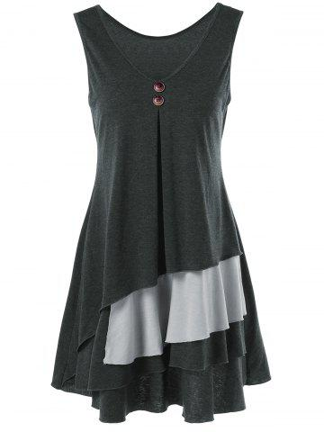 Online Layered Longline T-Shirt with Button - XL BLACK AND GREY Mobile