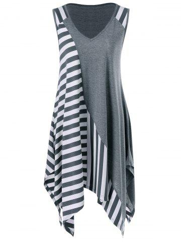 New Striped Long Handkerchief Sleeveless Flowy T-Shirt GREY AND WHITE XL