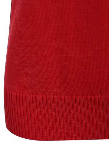 Hot V Neck Graphic Pattern Sleeveless Knitwear - S RED Mobile