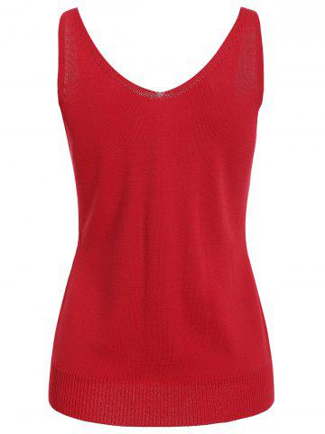 Outfit V Neck Graphic Pattern Sleeveless Knitwear - S RED Mobile