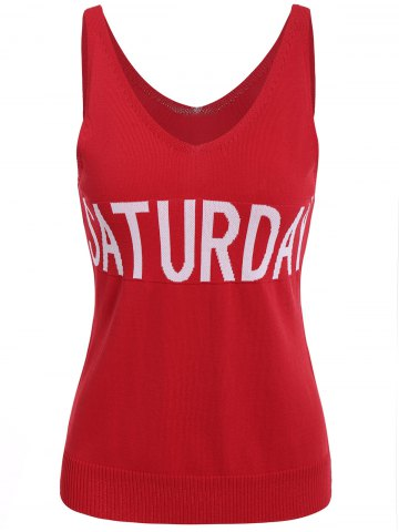 Cheap V Neck Graphic Pattern Sleeveless Knitwear - S RED Mobile