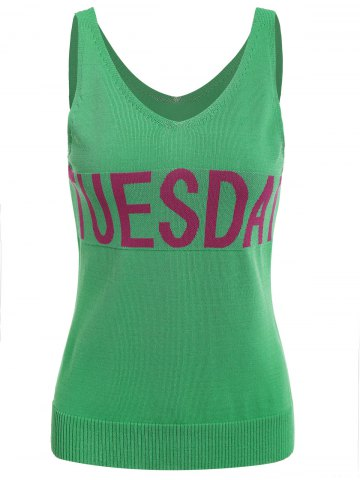 Shops V Neck Graphic Pattern Sleeveless Knitwear - XL LEAF GREEN Mobile