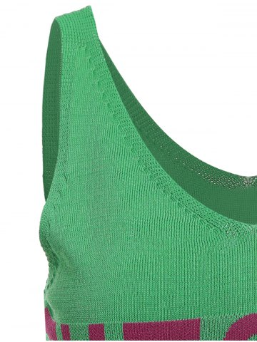 Online V Neck Graphic Pattern Sleeveless Knitwear - XL LEAF GREEN Mobile