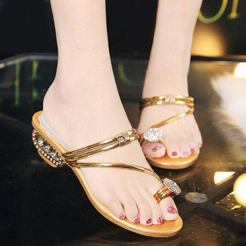Fashion Metal Color Rhinestones Slippers GOLDEN 37