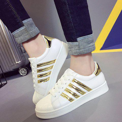 Latest Shell Toe PU Leather Athletic Shoes - 38 GOLDEN Mobile